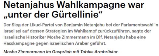 Netanjahu Hass auf Araber