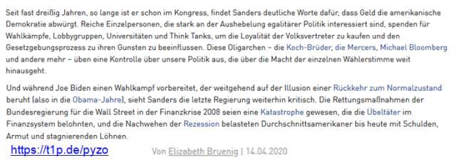 Sanders Oligarchie Zionismus