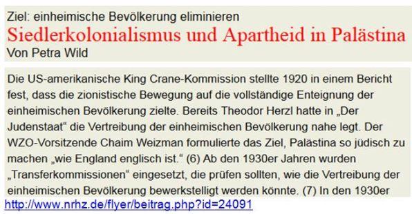 Zionismus Siedlerkolonisation Wild