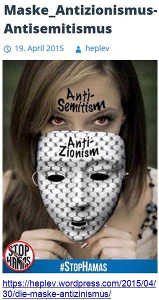 Antizionismus = Antisemitismus heplev Maske