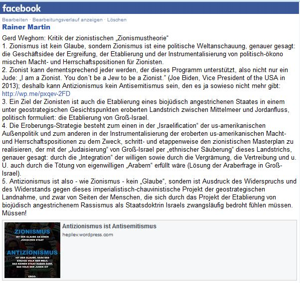 Antizionismus gleich Antisemitismus facebook GW