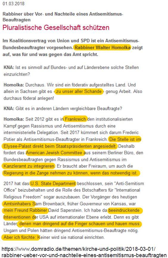 Antisemitismusbeauftragter Schande Homolka