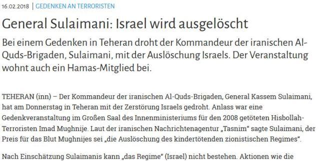 Iran Israel Zionismus auslöschen
